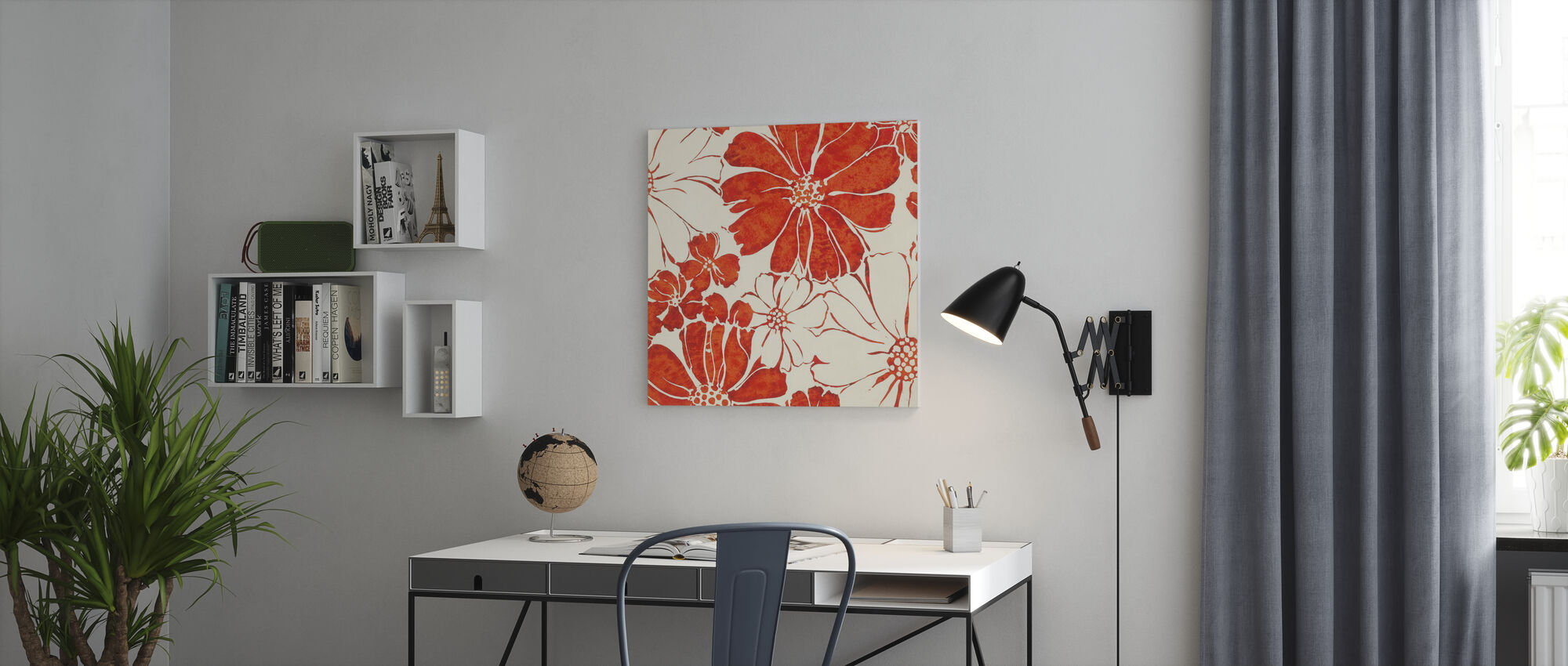 Summer Daisies Red - Canvas print - Office