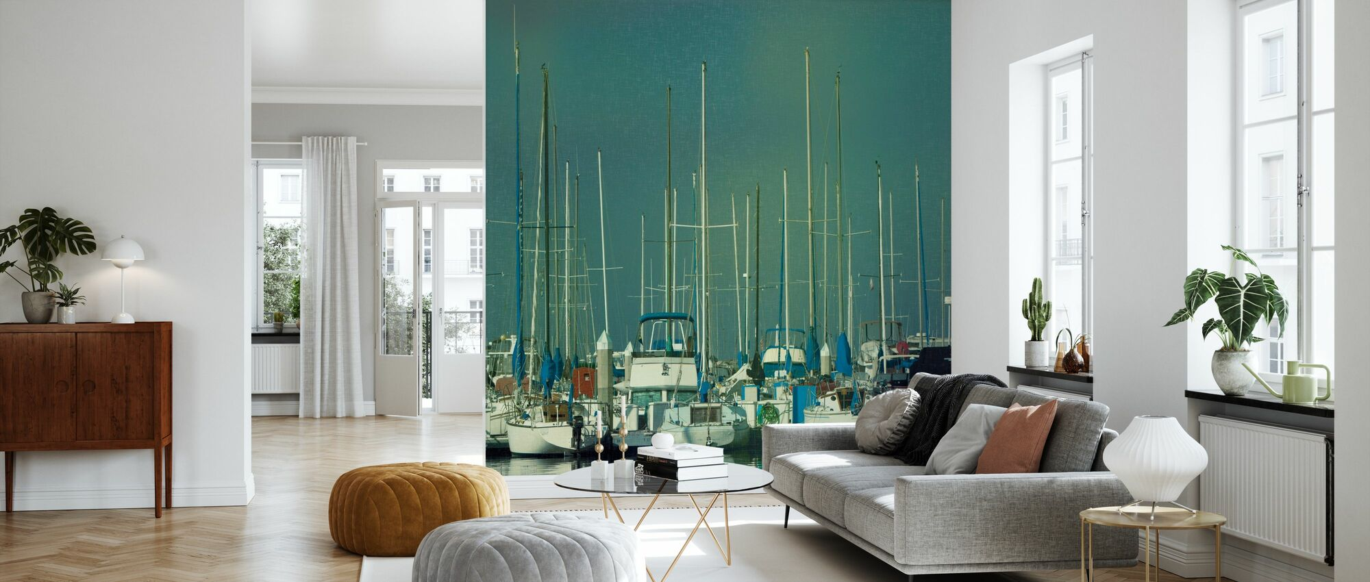 Harbor Boats - Wallpaper - Living Room