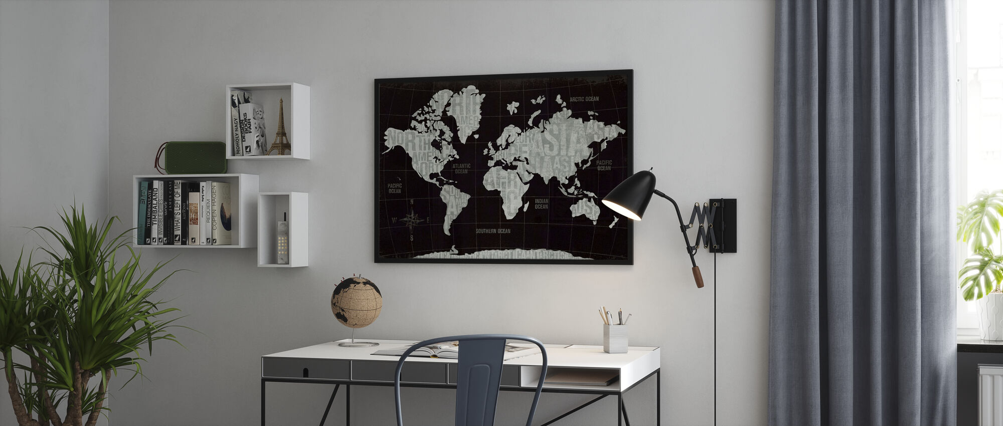 Modern World Black - Framed print - Office