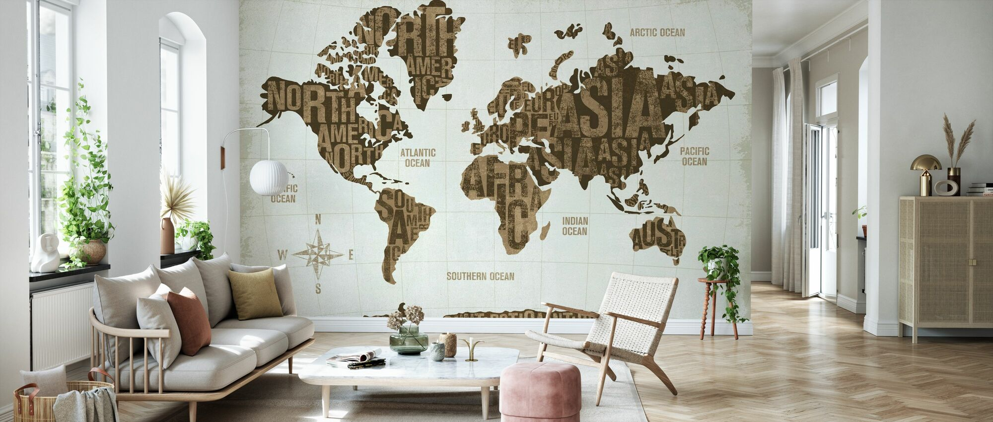Monde Moderne Or - Papier peint - Salle à manger