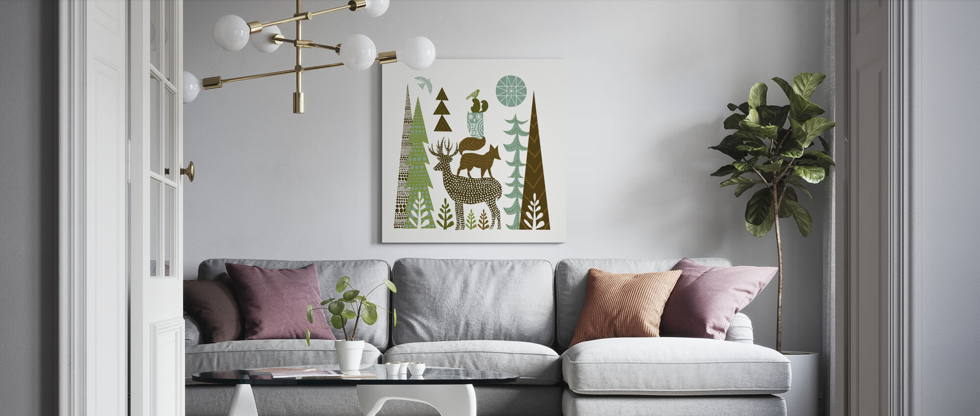 Forest Folklore Green Animals 1 - Canvas print - Living Room