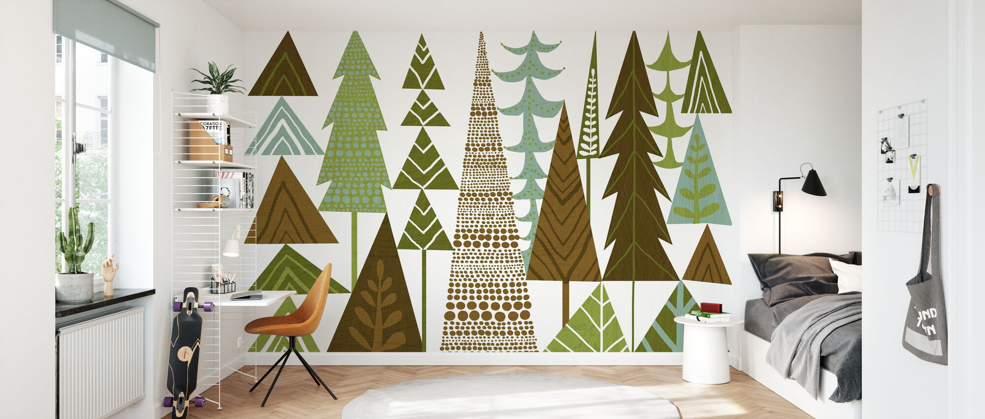 Forest Folklore Green Trees - Wallpaper - Kids Room