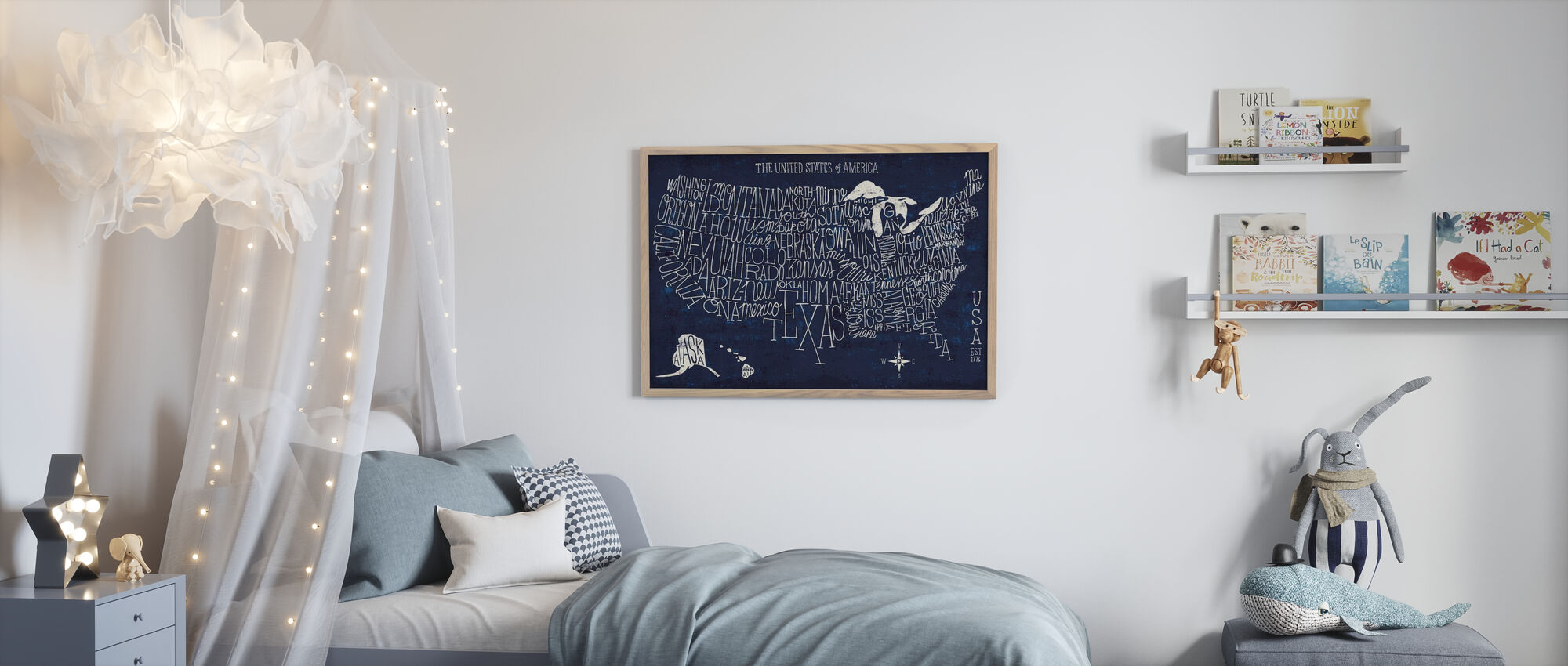 Hand Lettered US Map Blueprint - Poster - Kids Room