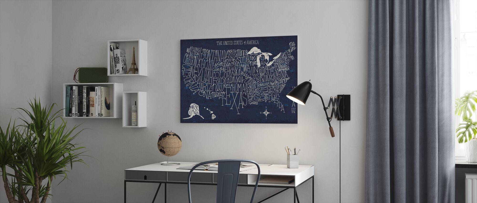 Hånd bogstaver USA kort Blueprint - Billede på lærred - Kontor