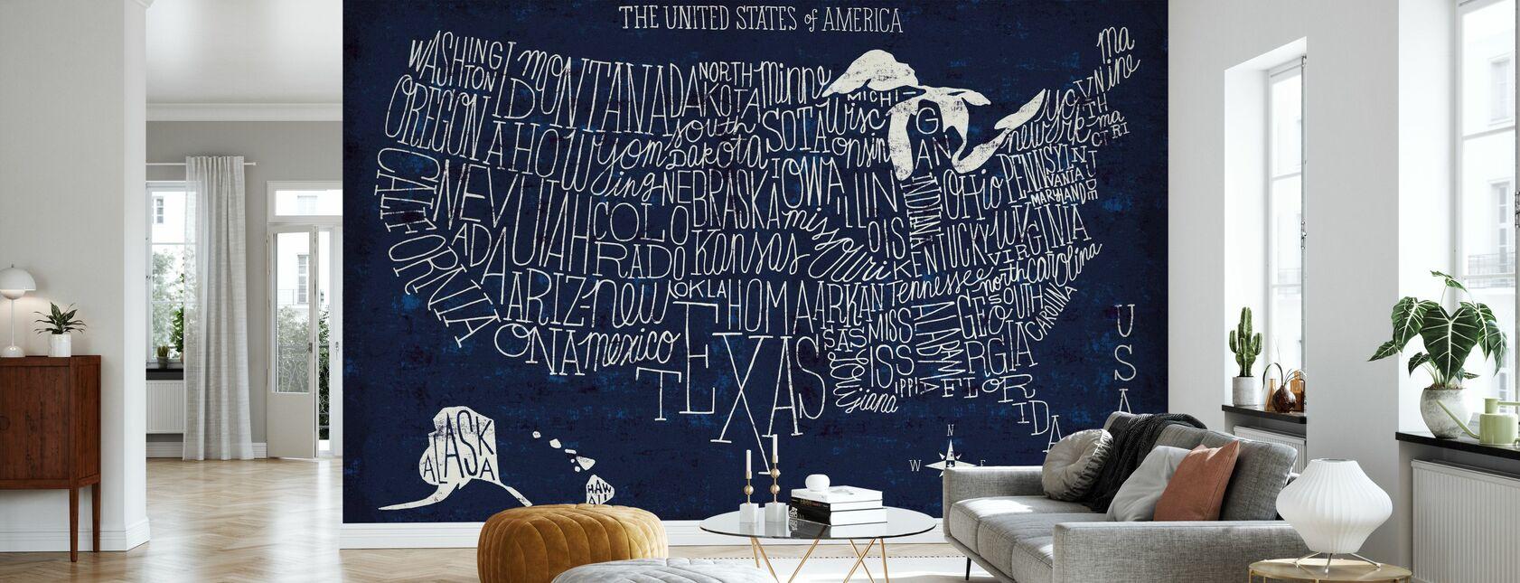 Hånd Lettered US Map Blueprint - Tapet - Stue