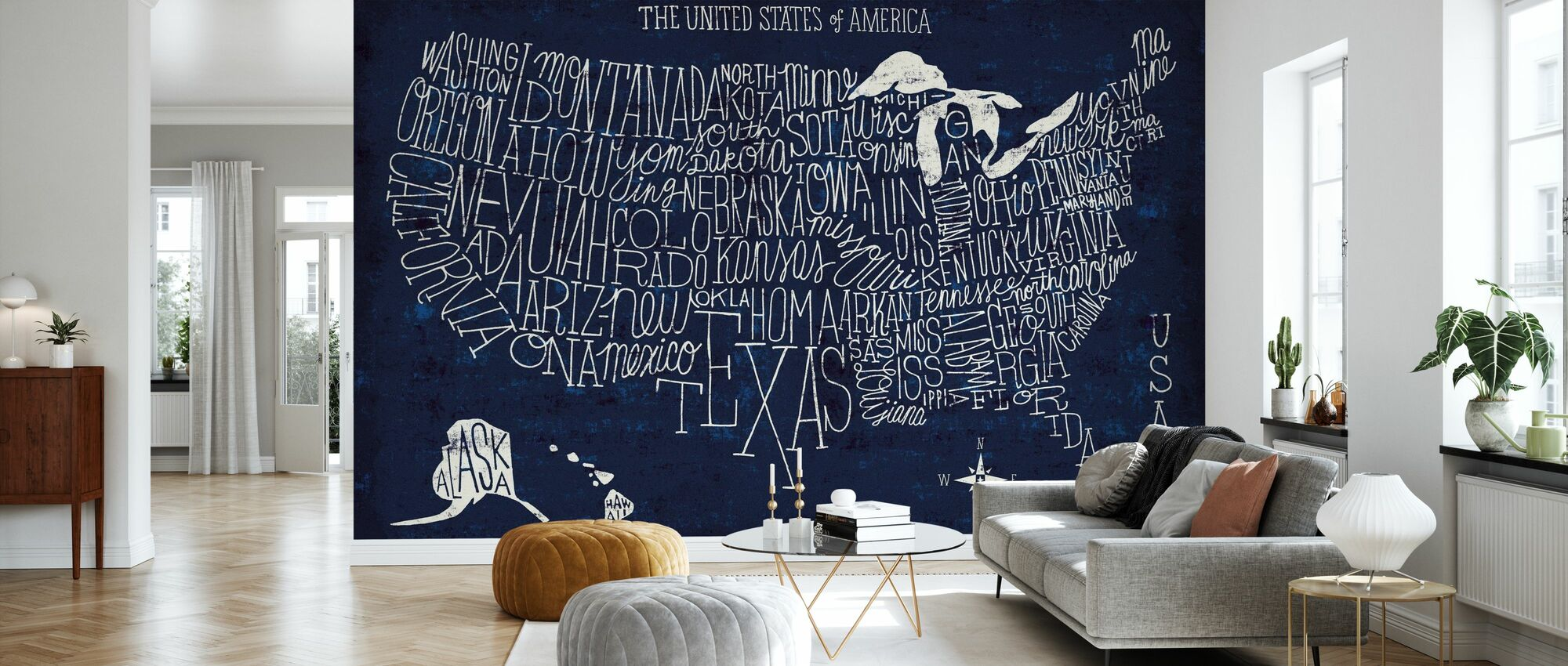 Hand Lettered US Map Blueprint - Wallpaper - Living Room