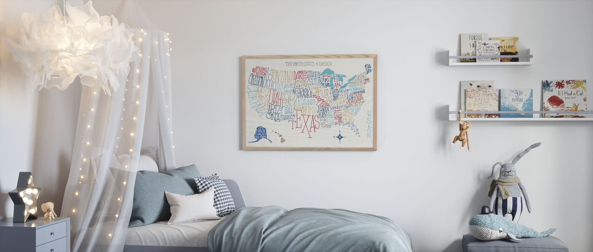 Hand Lettered US Map Colors - Poster - Kids Room