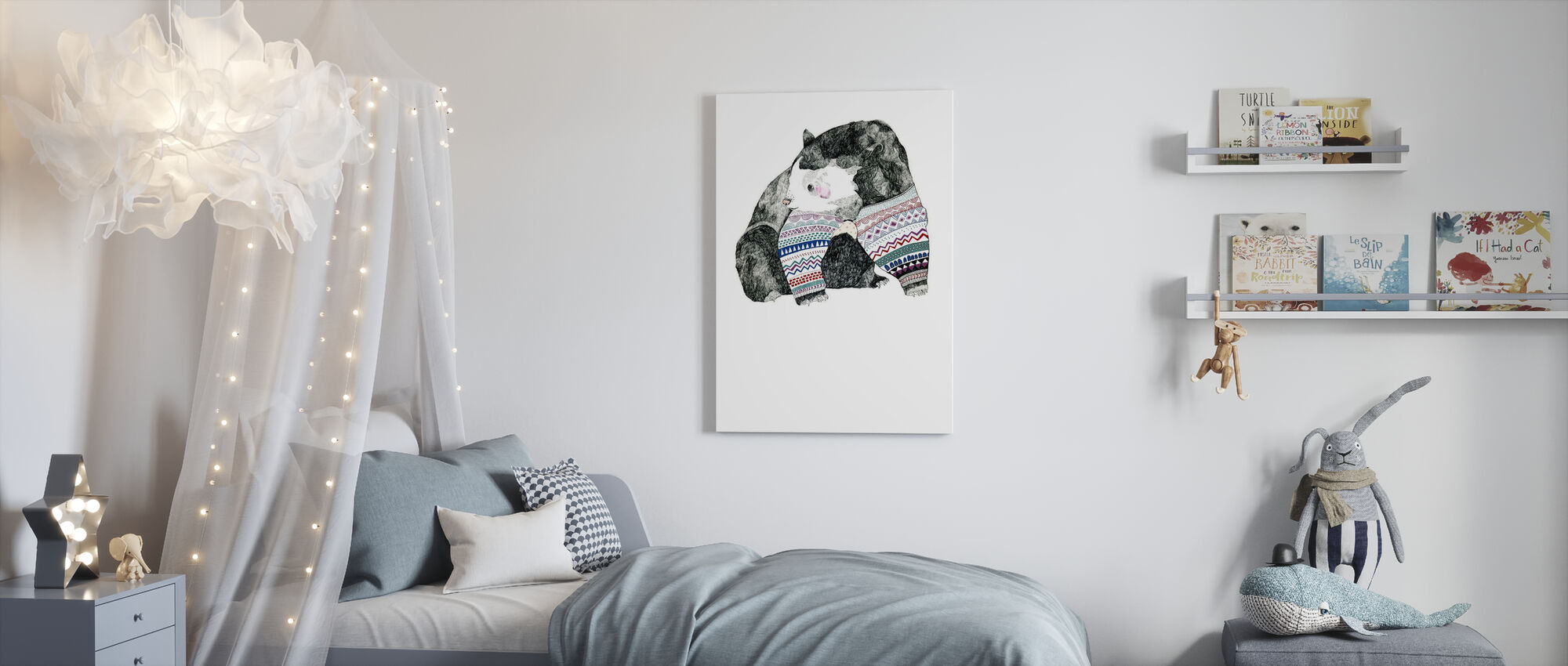 Knitted Bear - Canvas print - Kids Room
