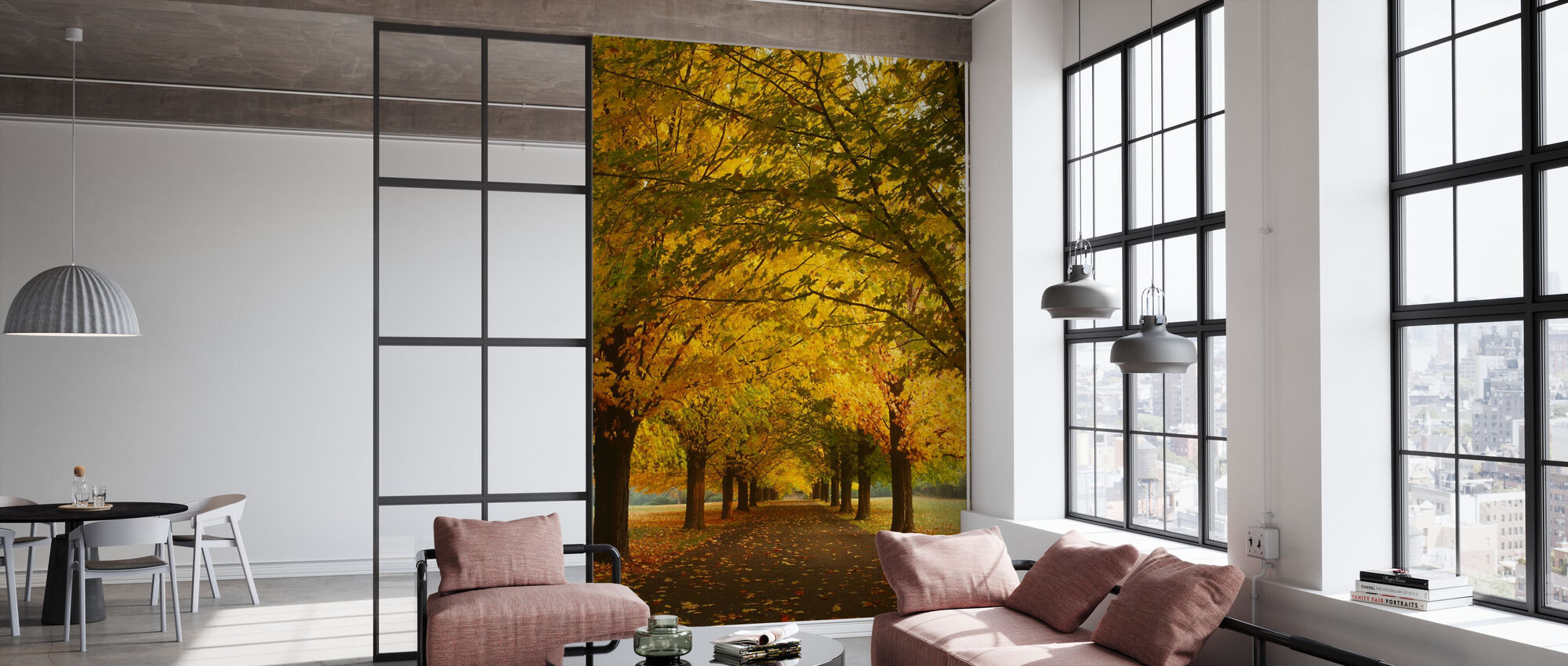 Yellow Sugar Maple Alley - Wallpaper - Office