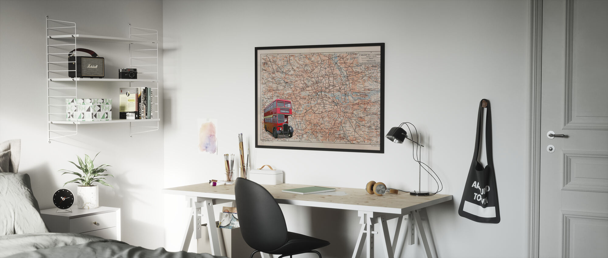 London Map with Bus - Framed print - Kids Room