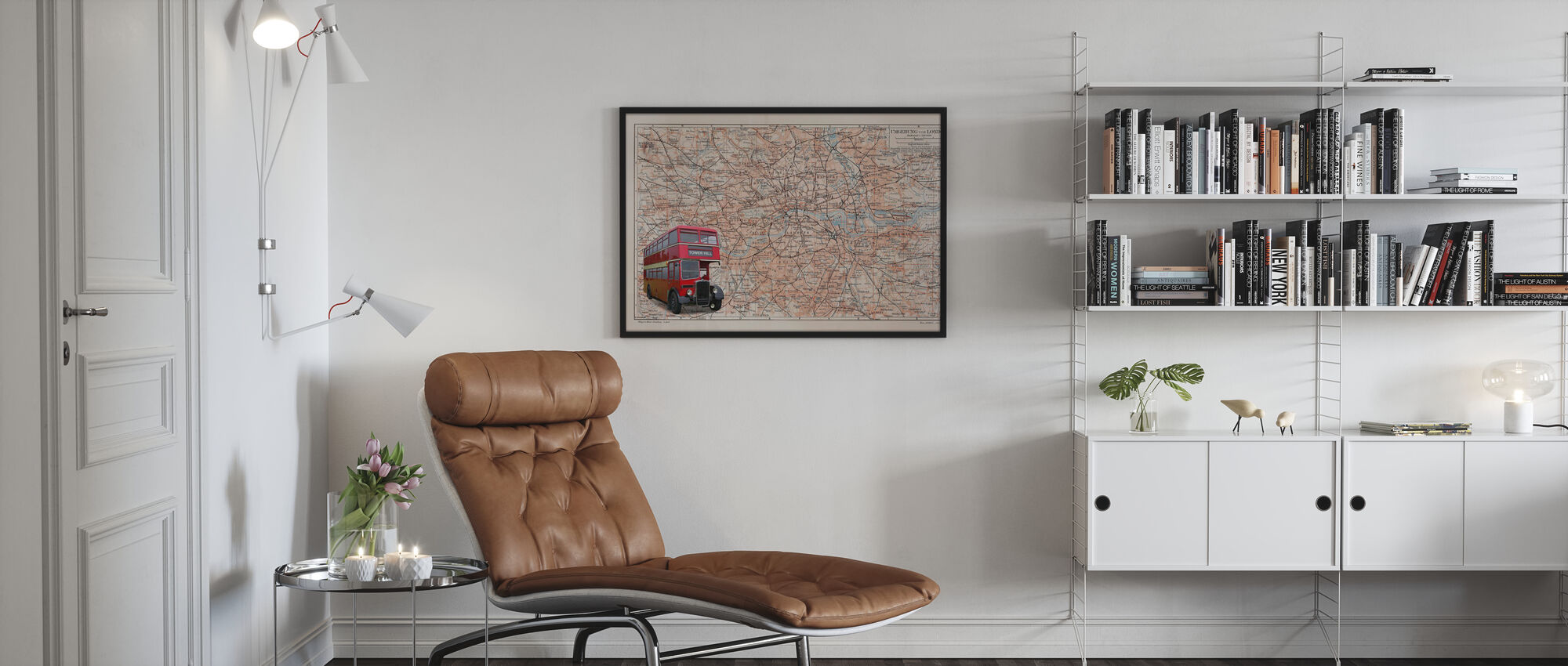 Karte London mit Bus - Poster - Wohnzimmer