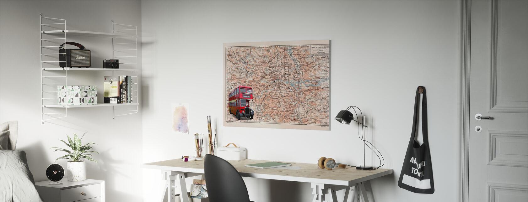 Kaart van Londen met bus - Canvas print - Kinderkamer