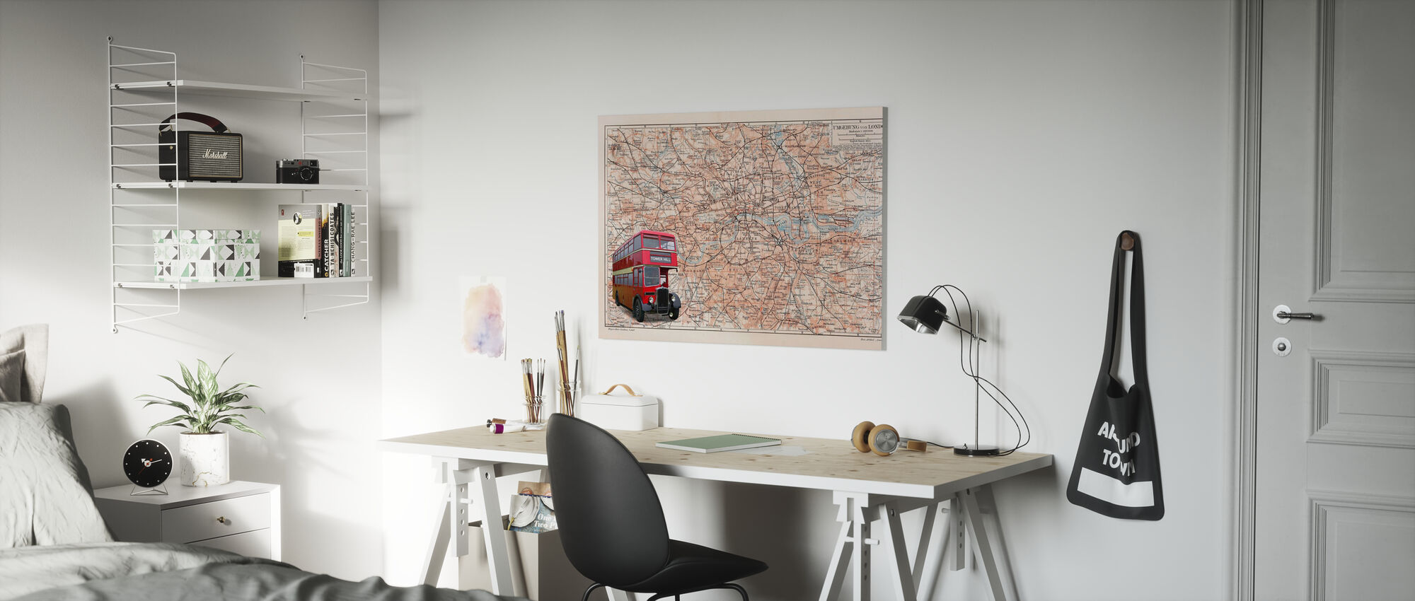 London Map with Bus - Canvas print - Kids Room