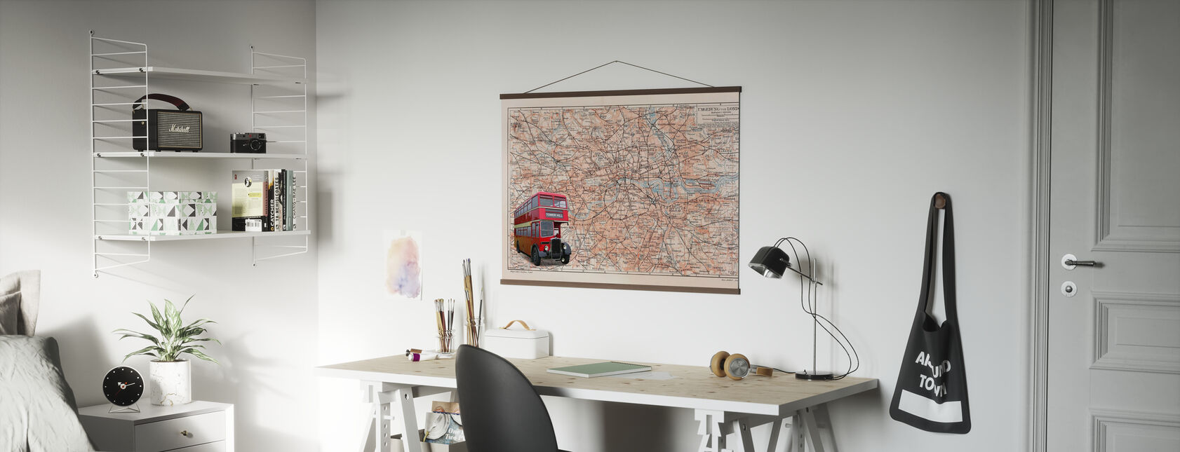 London Map with Bus - Poster - Office