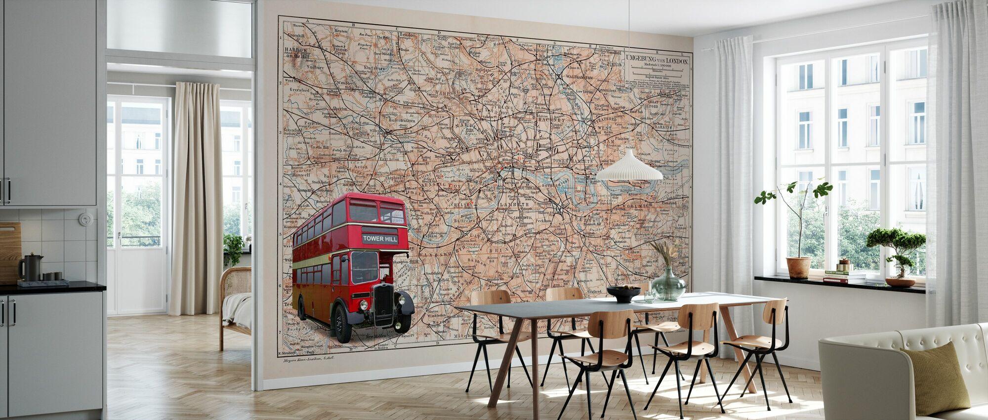 Karte London mit Bus - Tapete - Küchen