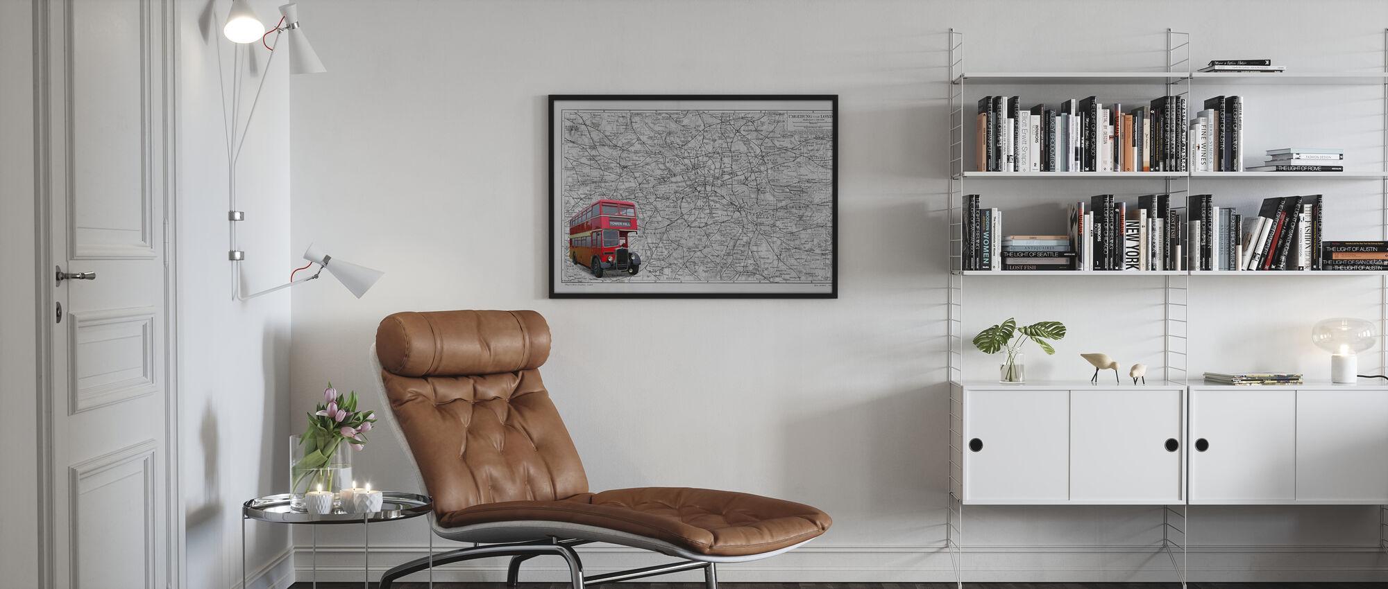 London Map with Bus - Colorsplash - Framed print - Living Room