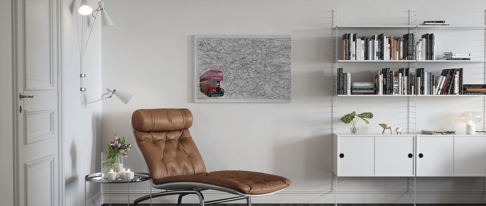 London Map with Bus - Colorsplash - Canvas print - Living Room