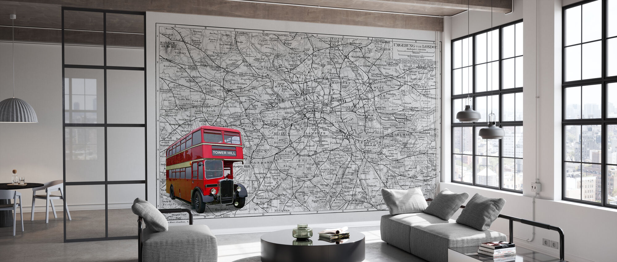 London Map with Bus - Colorsplash - Wallpaper - Office
