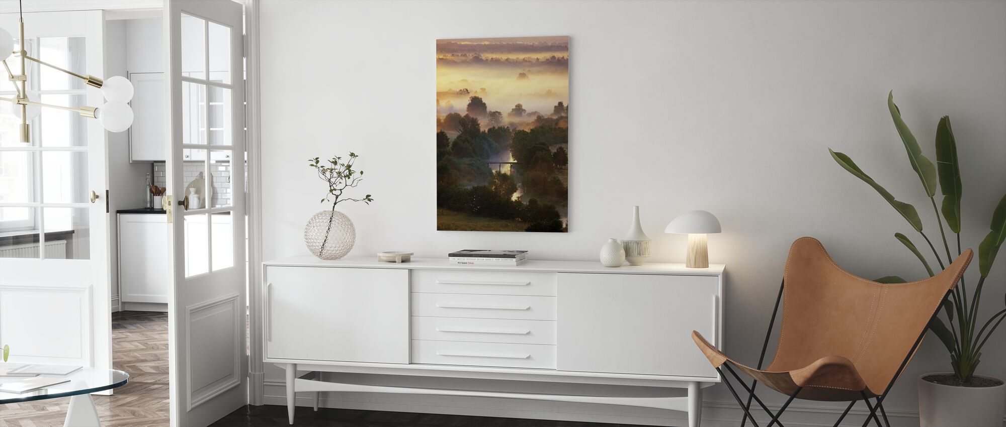 Misty Shimmering Forest - Canvas print - Living Room