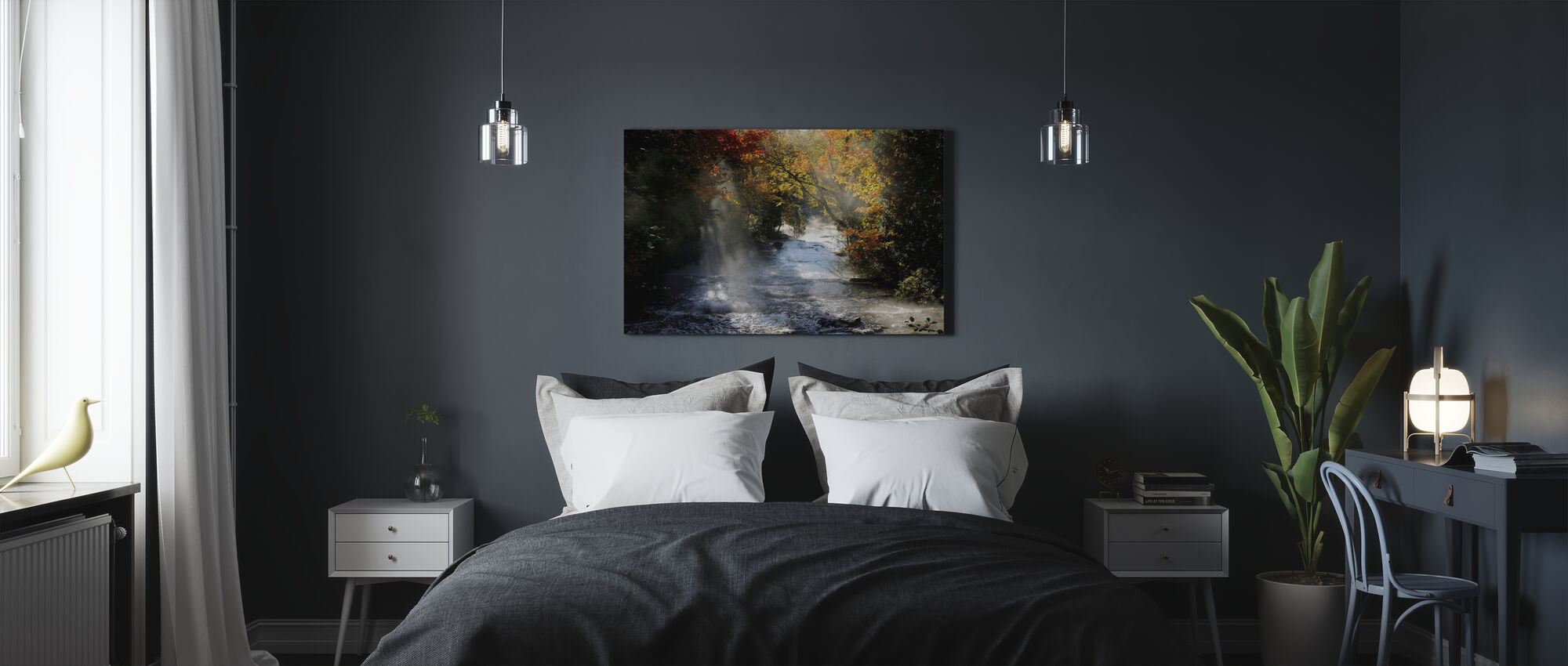 Waterfall with Autumn Colors - Canvas print - Bedroom