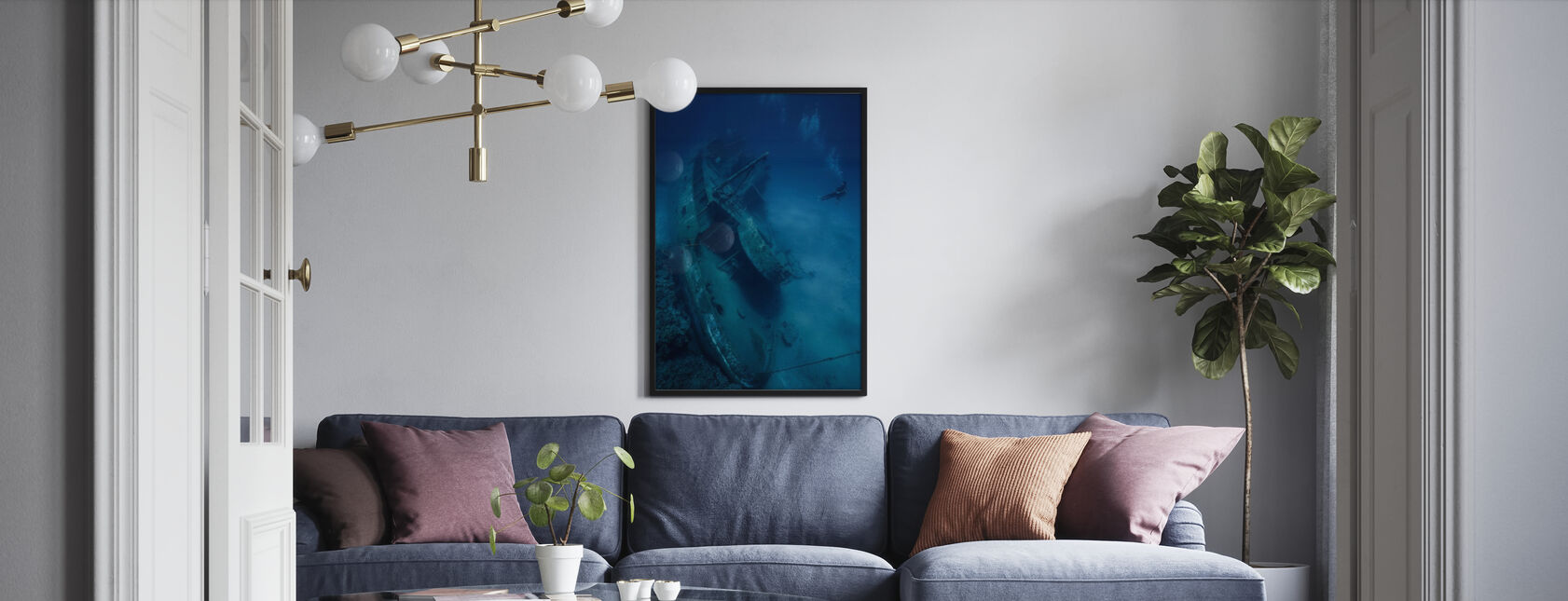 Shipwreck and Diver - Framed print - Living Room