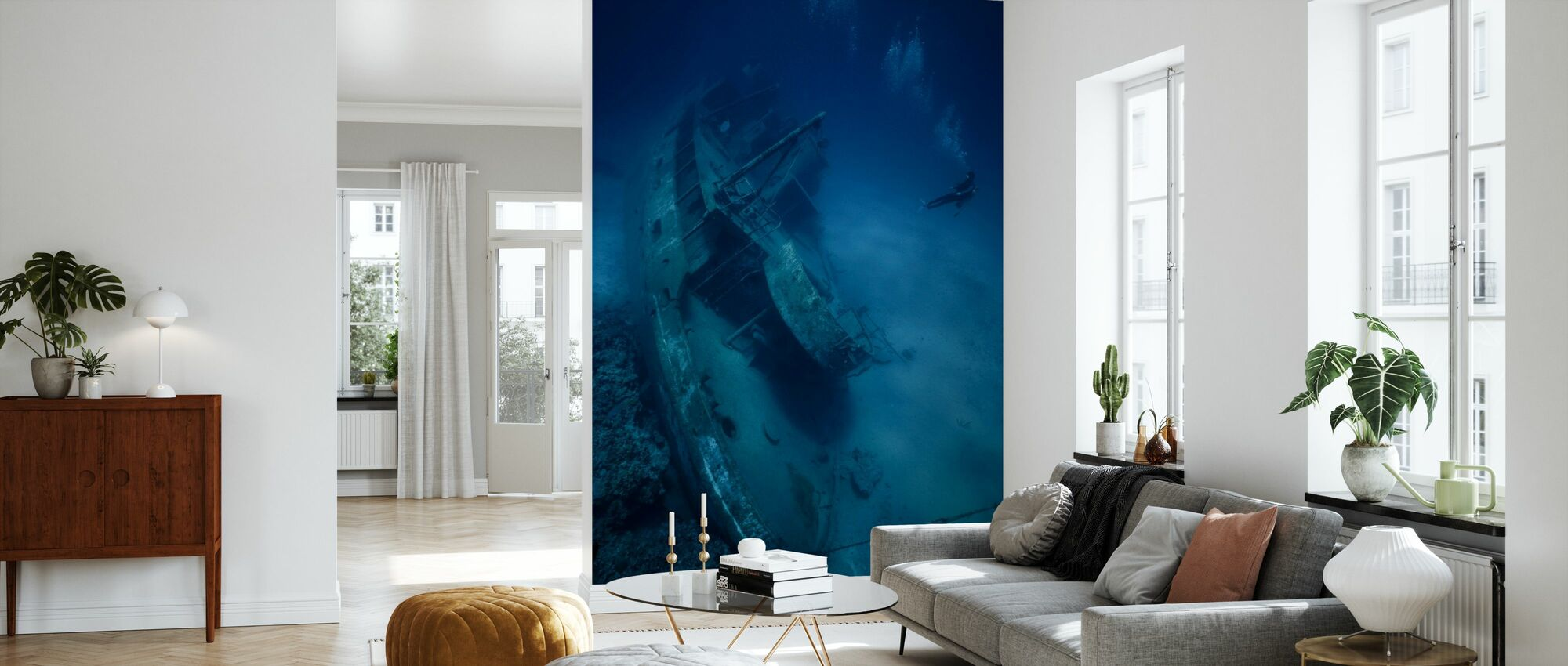 Skibsvrag og dykker - Tapet - Stue