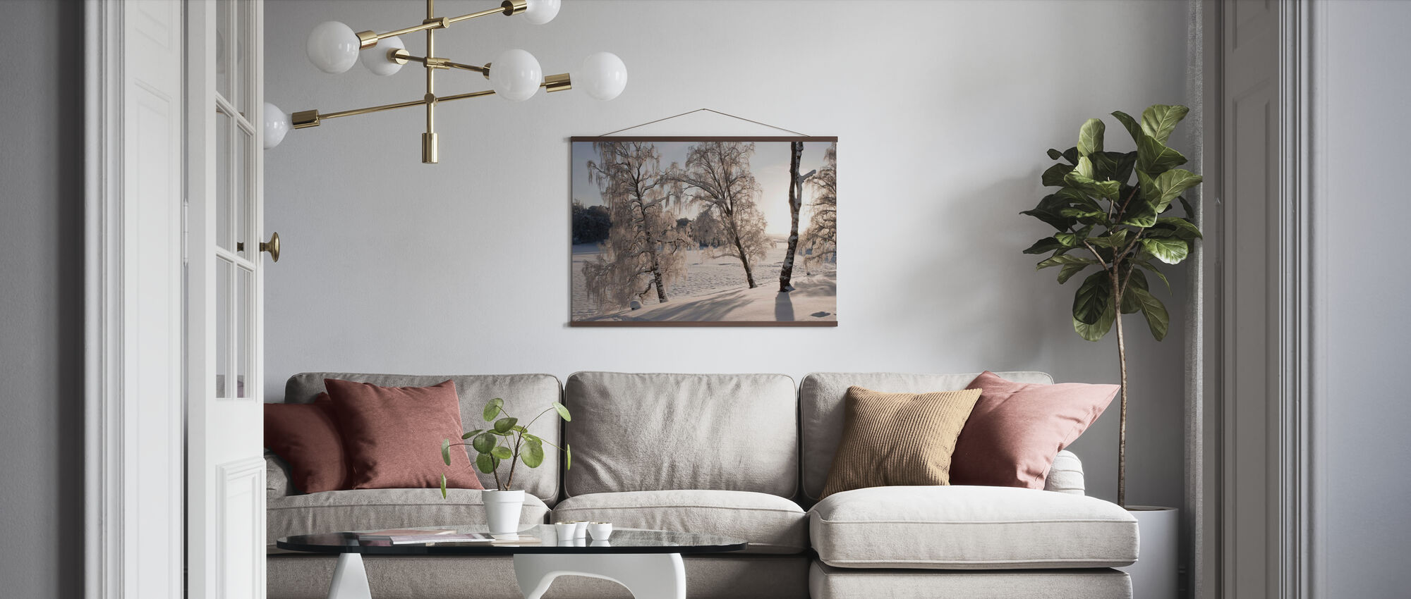 Snow-Covered Silver Birches - Poster - Living Room