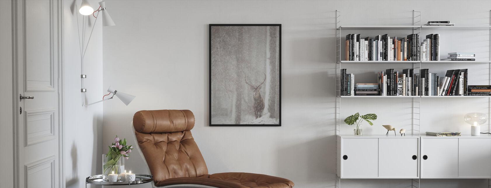 Red Deer in Heavy Snowfall - Poster - Living Room