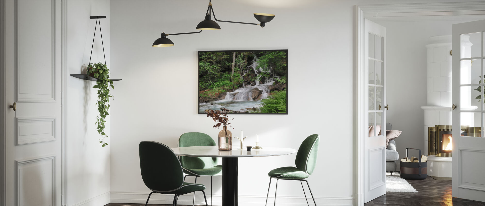 Ferns and Waterfall - Framed print - Kitchen