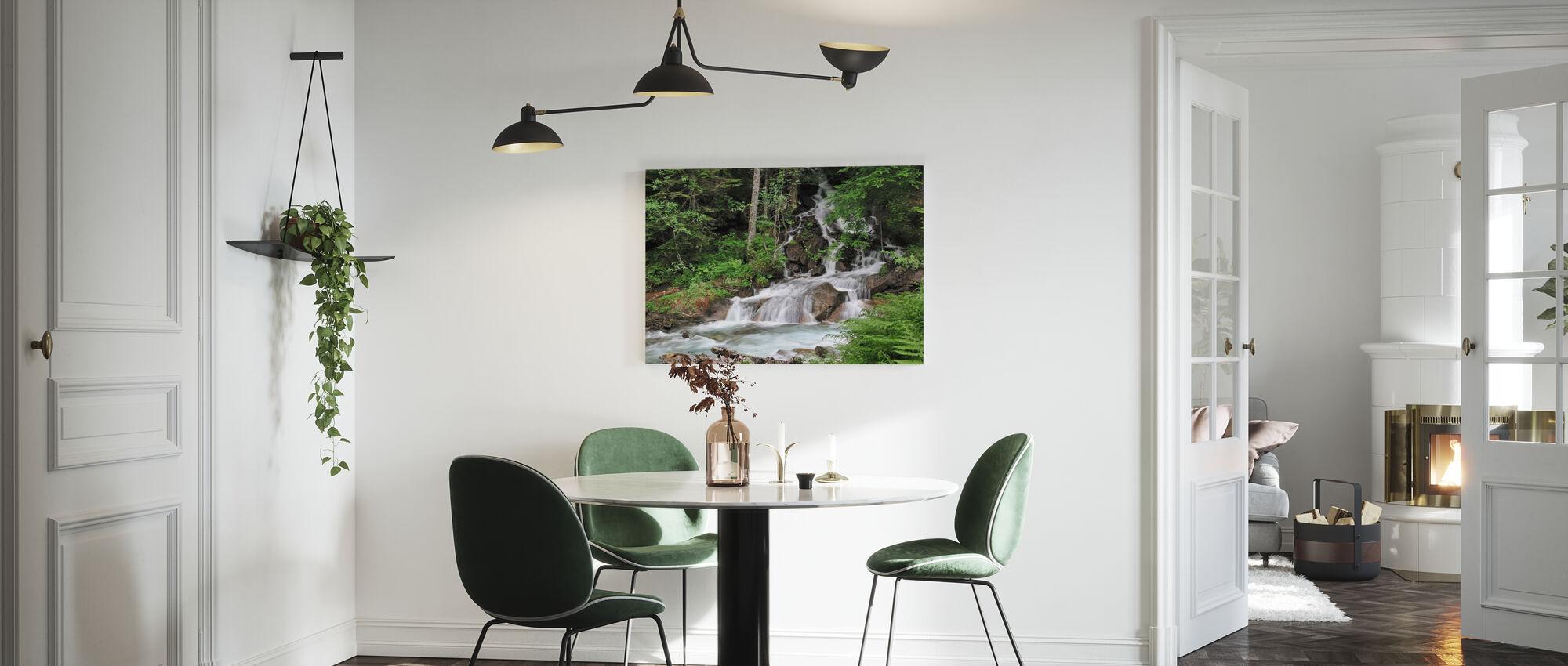 Farne und Wasserfall - Leinwandbild - Küchen