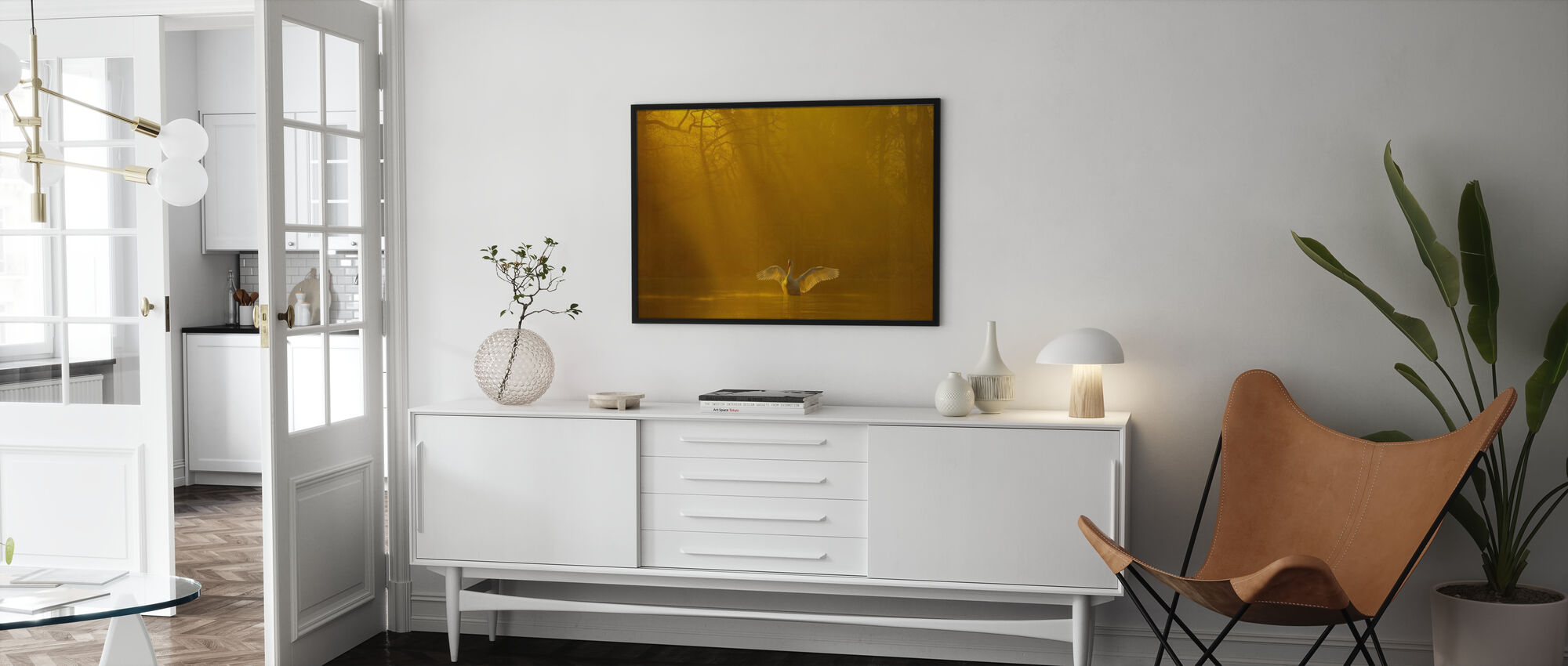 Lago Cisne Dorado - Print enmarcado - Salón