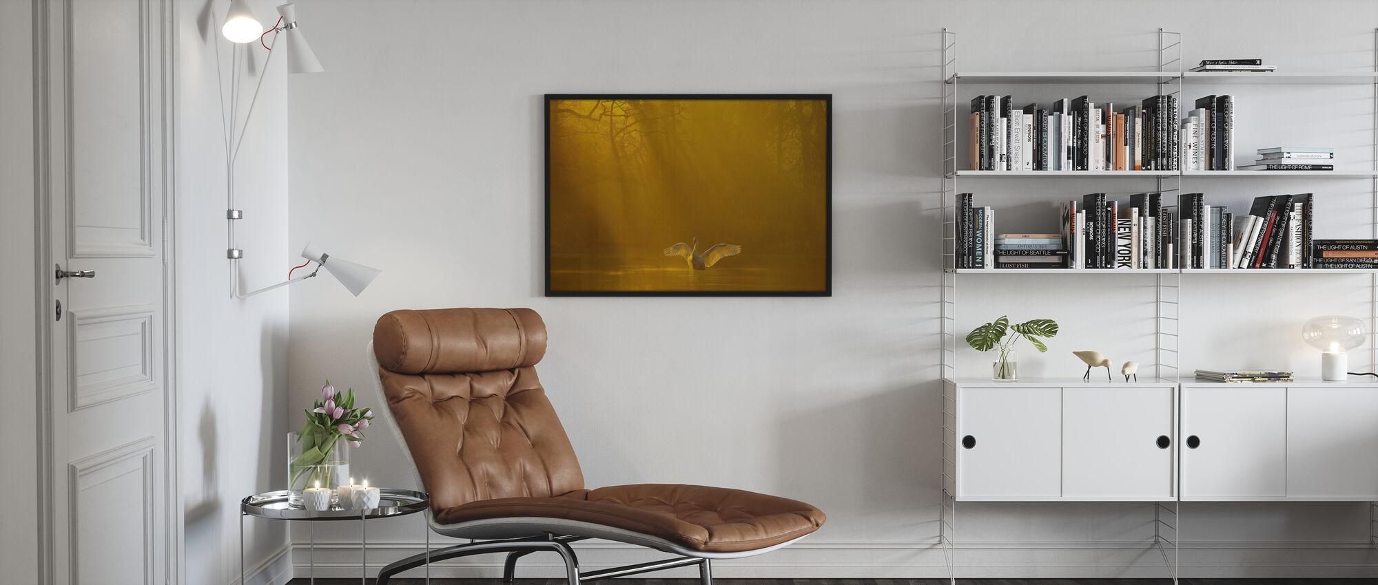 Golden Swan Lake - Poster - Living Room