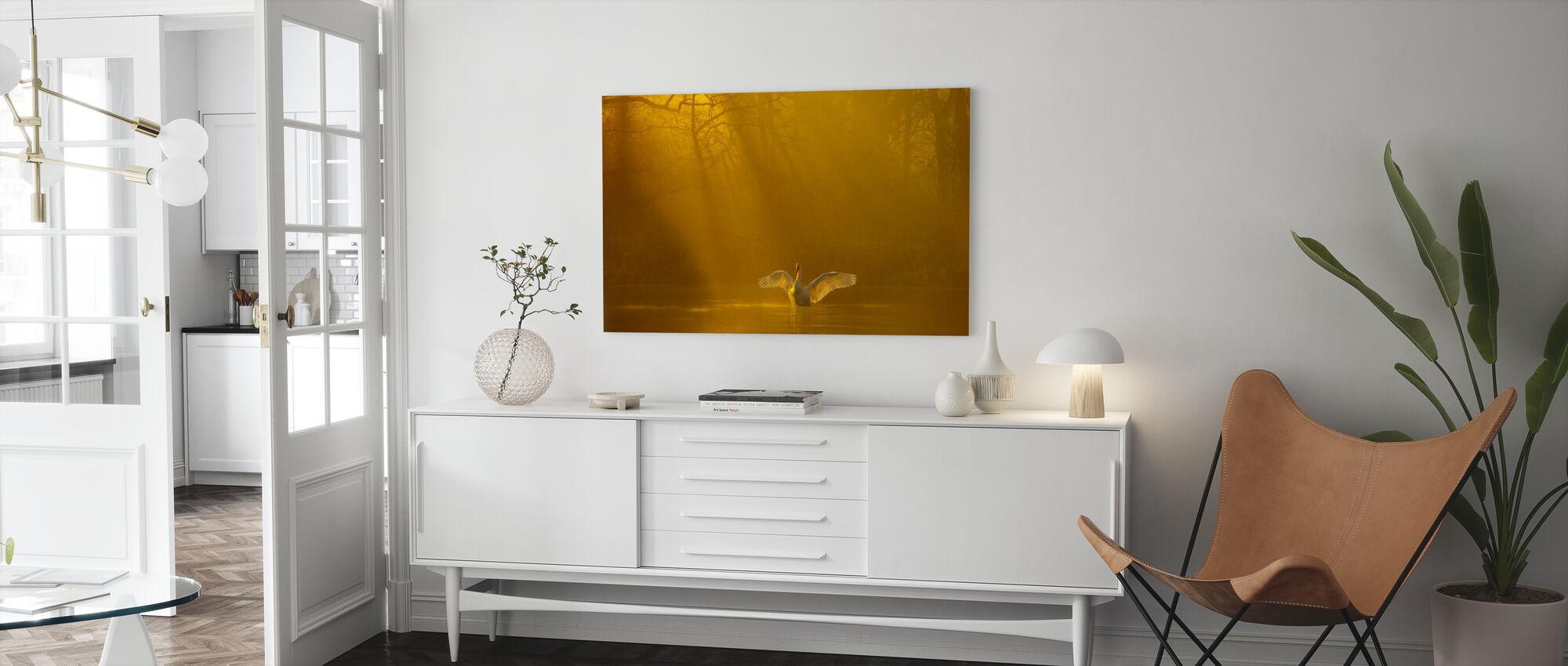 Gyllene Swan Lake - Canvastavla - Vardagsrum