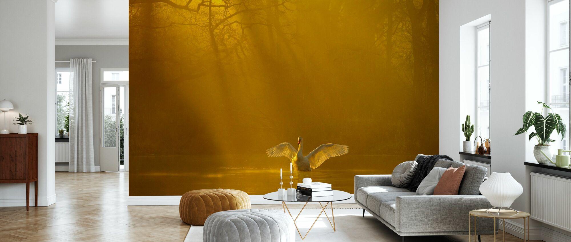 Golden Swan Lake - Wallpaper - Living Room