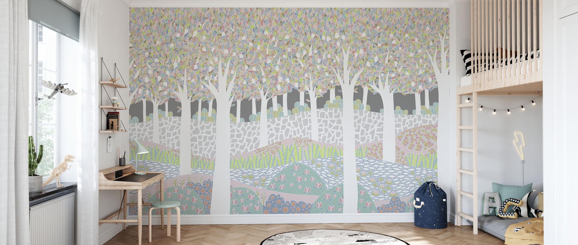 Fugl skog XL - Tapet - Barnerom