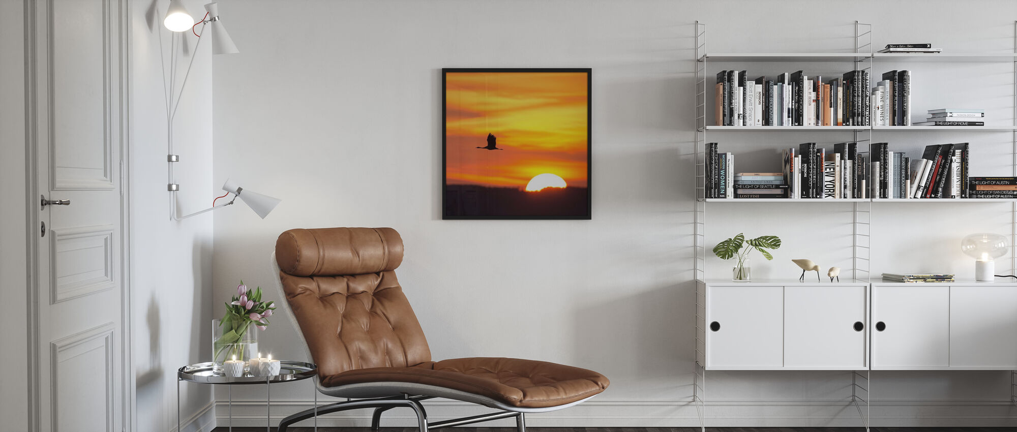 Crane and a Beautiful Sunrise - Poster - Living Room