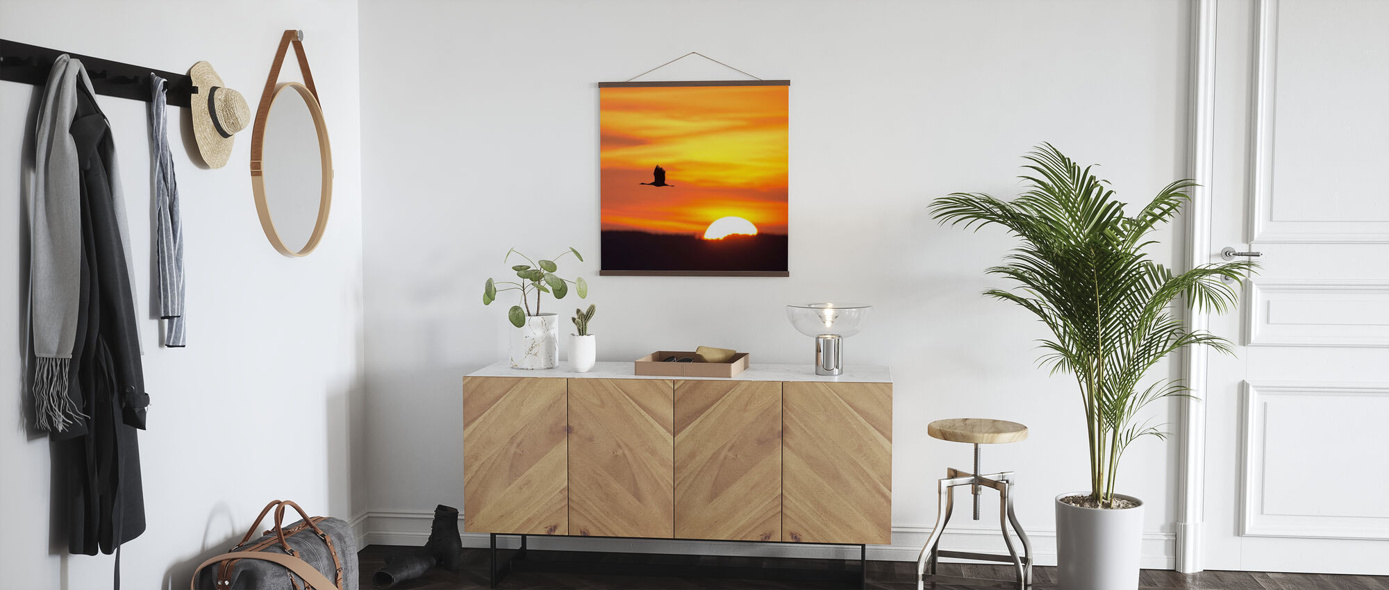 Crane and a Beautiful Sunrise - Poster - Hallway