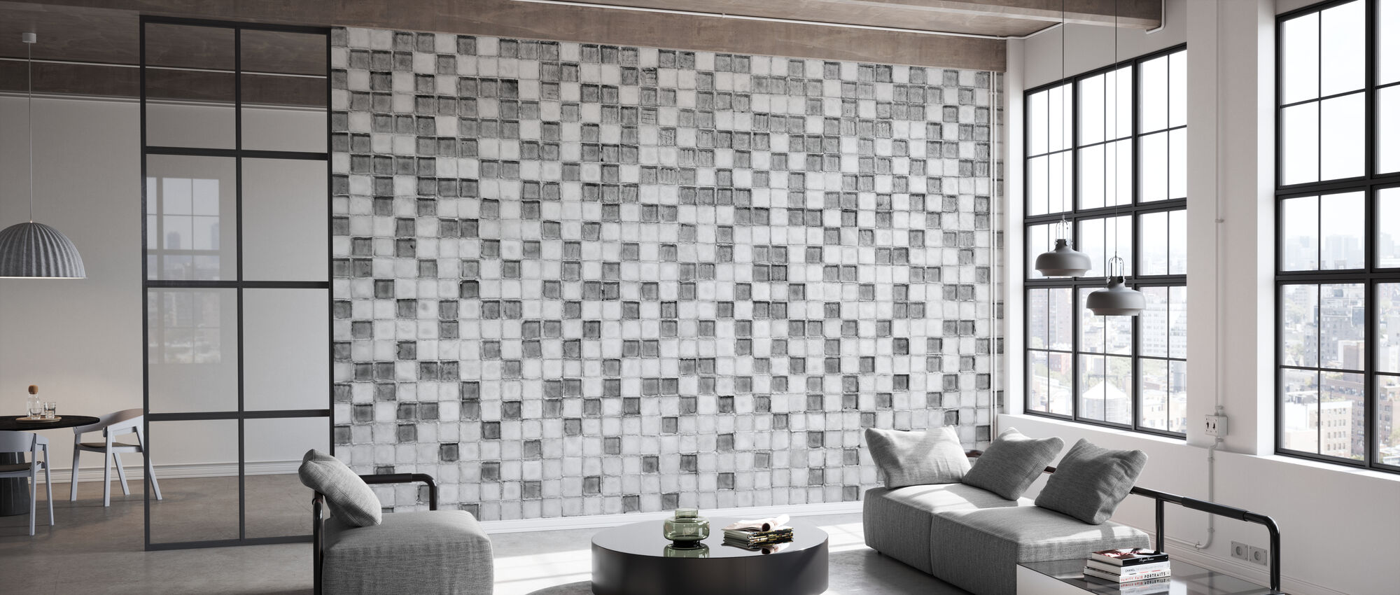 Miami Mosaikk grå - Tapet - Kontor
