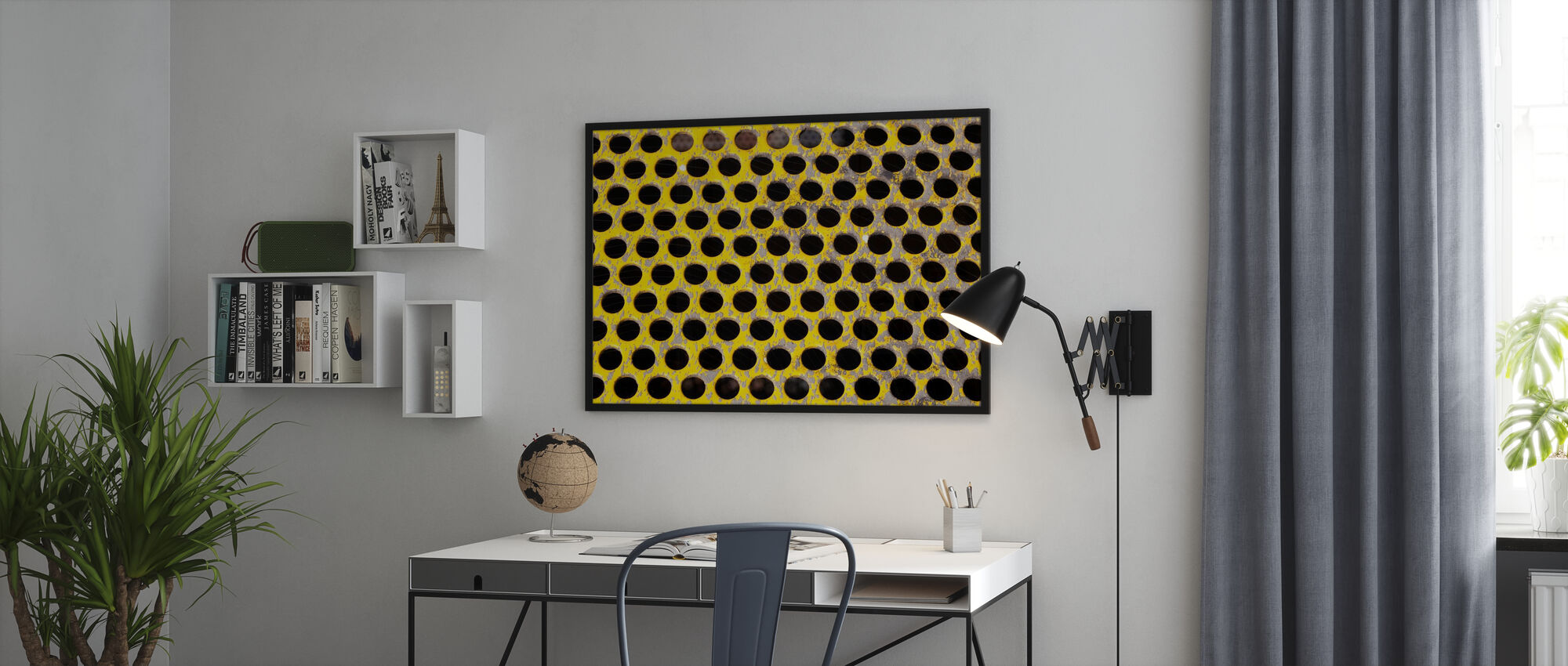 Old Perforated Metal Plate - Framed print - Office