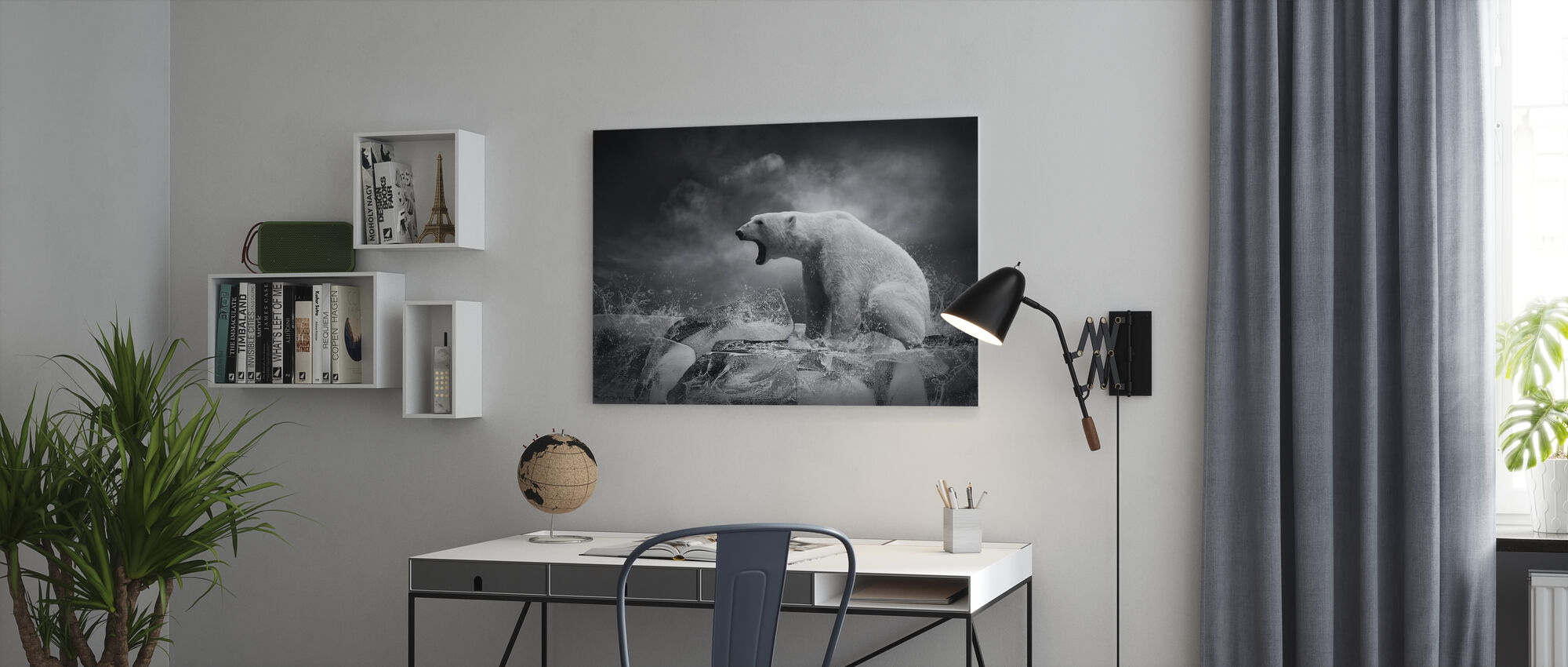 White Polar Bear Hunter - Canvas print - Office
