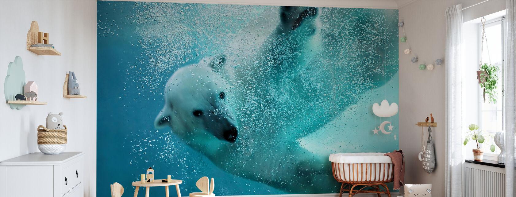 Underwater Polar Bear - Wallpaper - Nursery