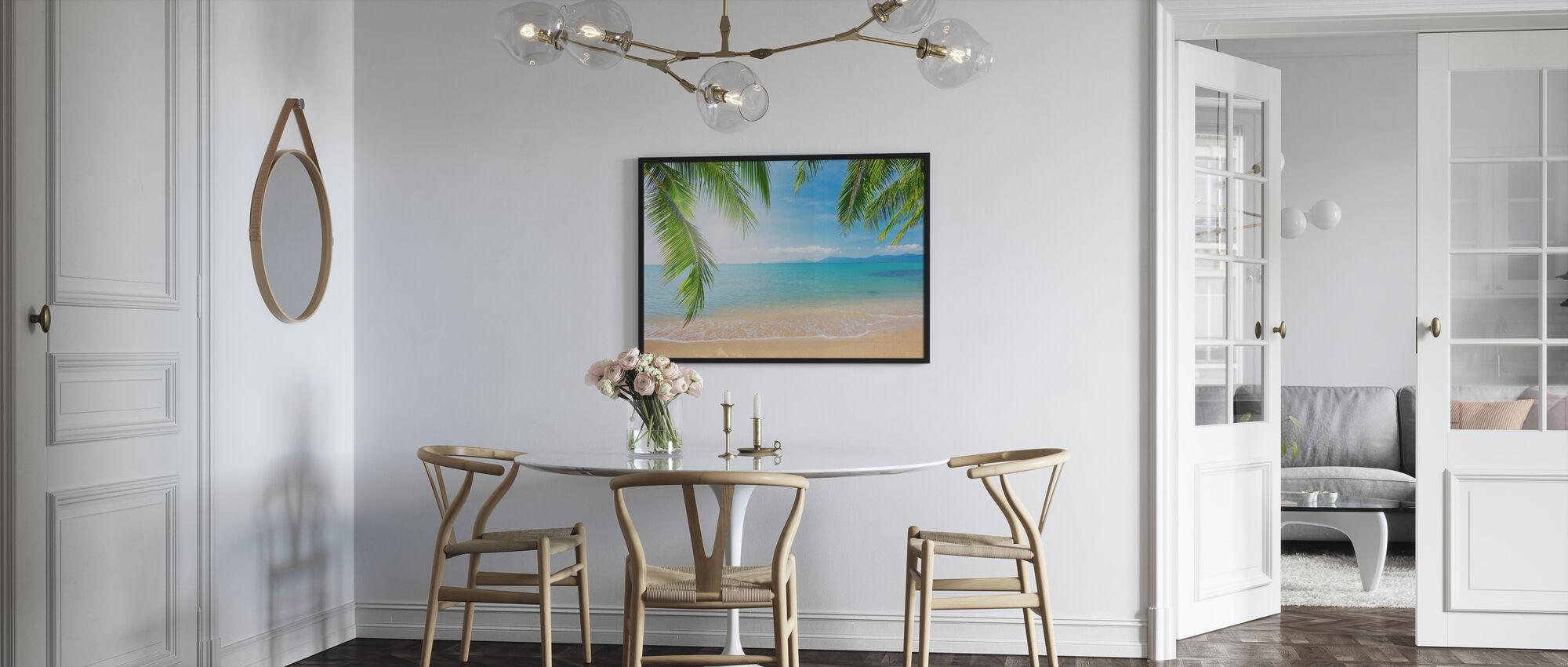 Trooppinen näkymä palmun alla - Juliste - Keittiö