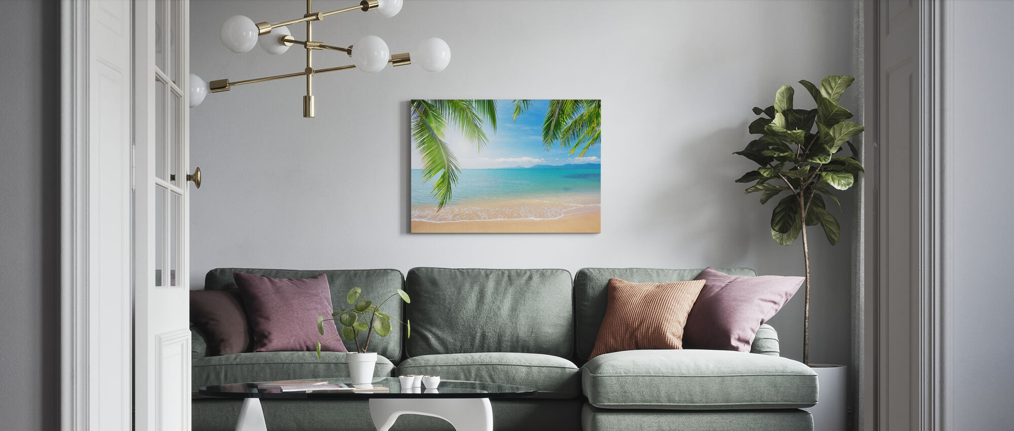 Tropical View from under a Palm Tree - Canvas print - Living Room