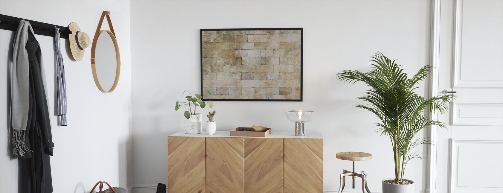 Tiled Stone Wall - Poster - Hallway