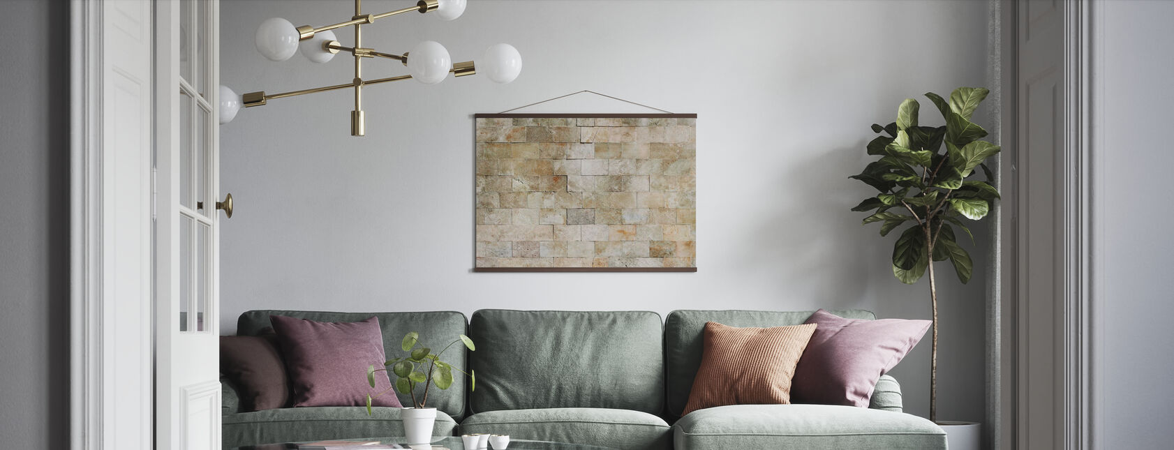 Tiled Stone Wall - Poster - Living Room