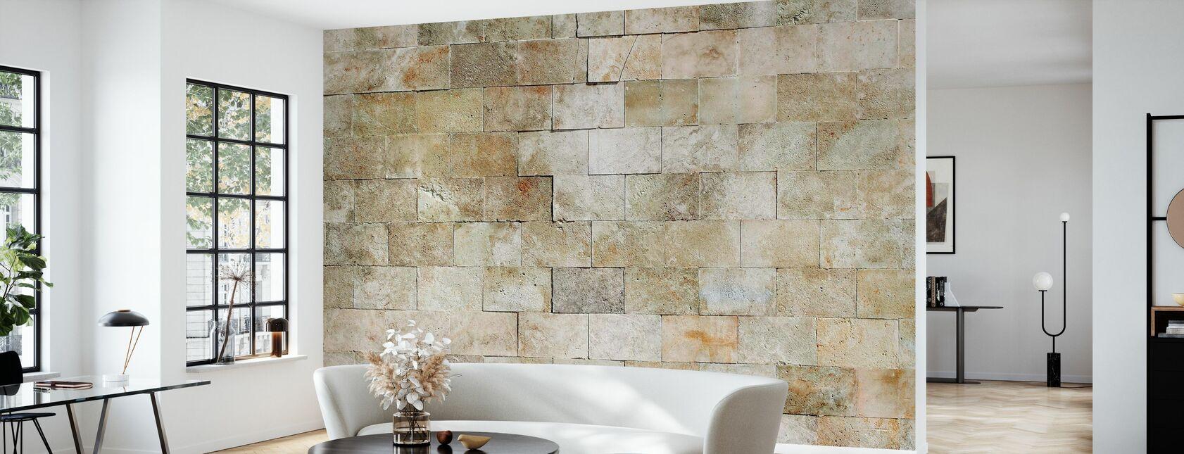 Flisebelagt sten væg - Tapet - Stue