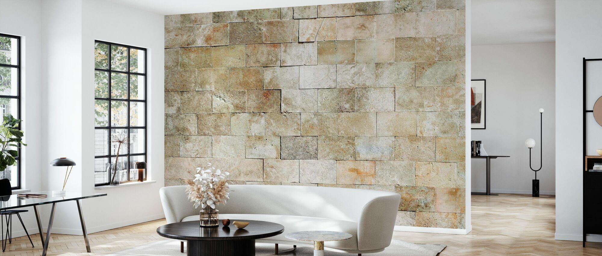Flislagt steinmur - Tapet - Stue