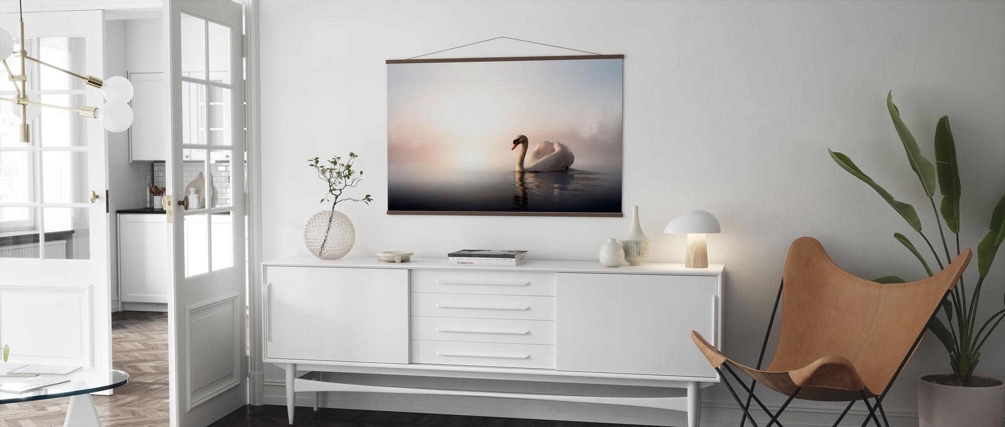 Swan Floating - Poster - Living Room