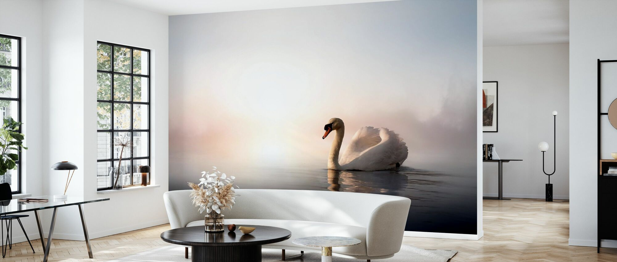 Swan Floating - Wallpaper - Living Room