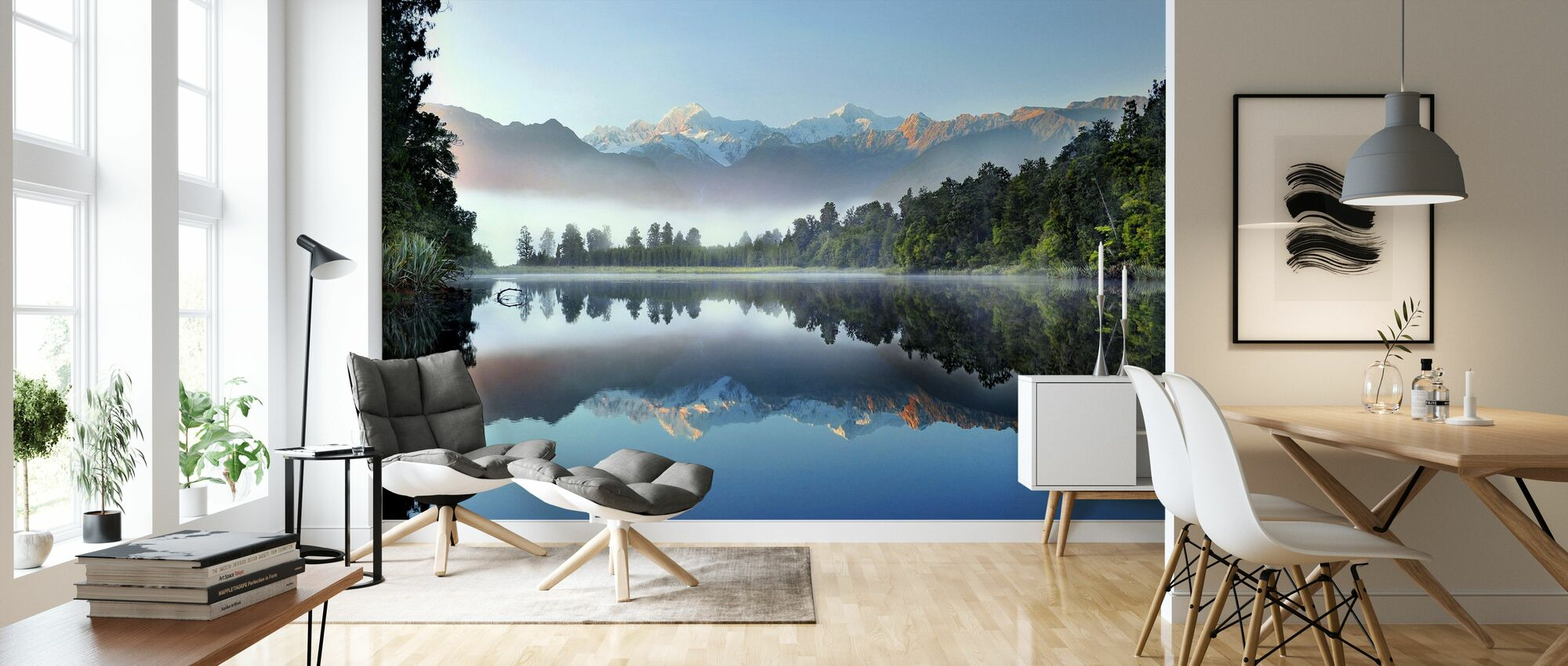 Reflection of Lake Matheson - Wallpaper - Living Room